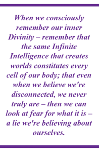 """""""When we consciously remember our inner Divinity -- remember that the same Infinite Intelligence that creates worlds constitutes every cell of our body; that even when we believe we're disconnected, we never truly are -- then we can look at fear for what it is - a lie we're believing about ourselves."""""""