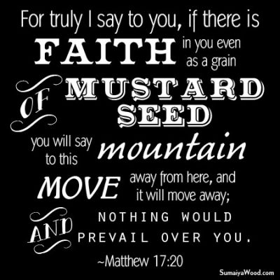 For truly I say to you, if there is faith in you even as a grain of mustard seed, you will say to this mountain, move away from here, and it will move away; and nothing would prevail over you. ~Matthew 17:20