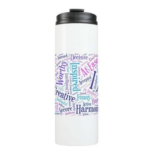 Colorful I Am affirmations thermal tumbler