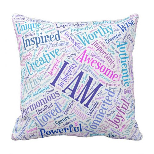 Colorful I Am affirmations throw pillow