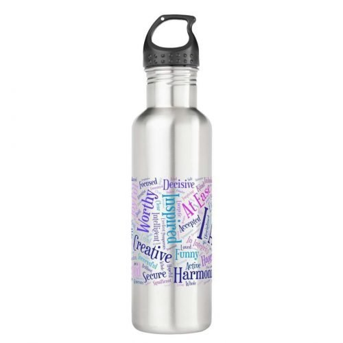Colorful I Am affirmations water bottle