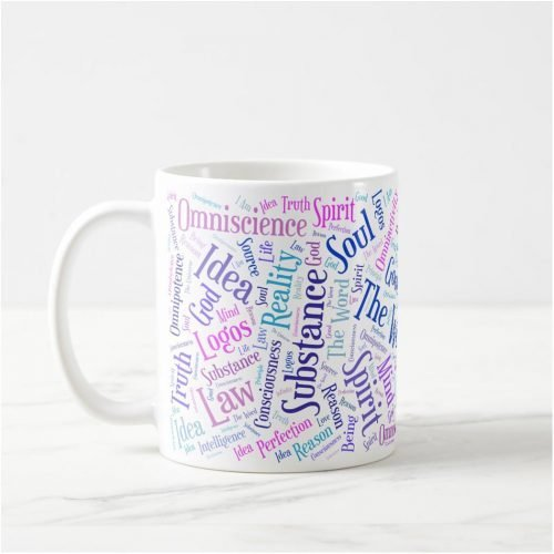 Coffee mug with colorful word cloud containing synonyms for God