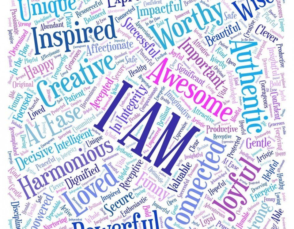 The Power of I AM: Word cloud with 101 I Am affirmations (e.g., I am successful; I am intelligent, I am deserving, I am inspired, I am connected, I am loved, I am able, etc.)