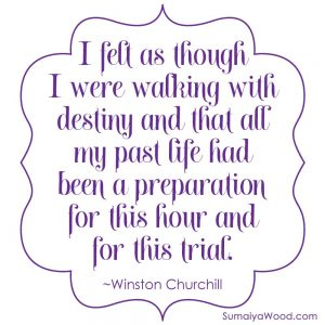 "Life has prepared you for this moment inspiring quote from Winston Churchill: ""I felt as though I were walking with destiny and that all my past life had been a preparation for this hour and for this trial."""