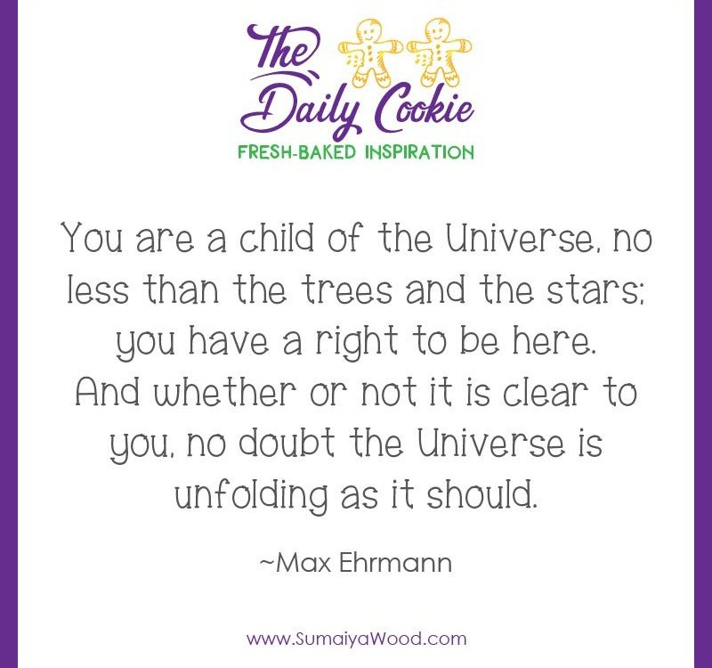 "Inspiring quote from Max Ehrmann: ""You are a child of the Universe, no less than the trees and the stars; you have a right to be here. And whether or not it is clear to you, no doubt the Universe is unfolding as it should."""