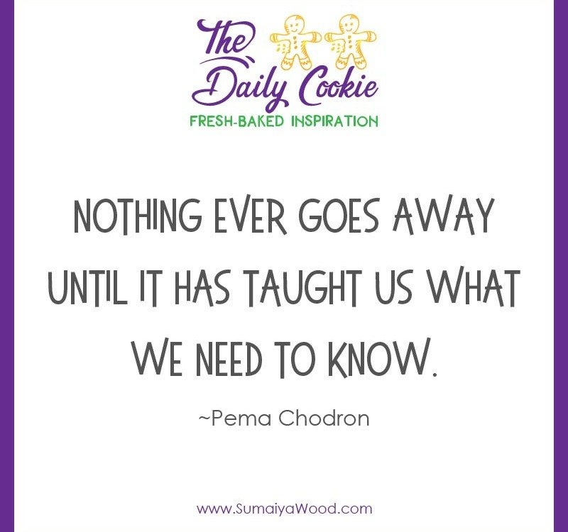 "Inspiring quote from Pema Chodron: ""Nothing ever goes away until it has taught us what we need to know."""