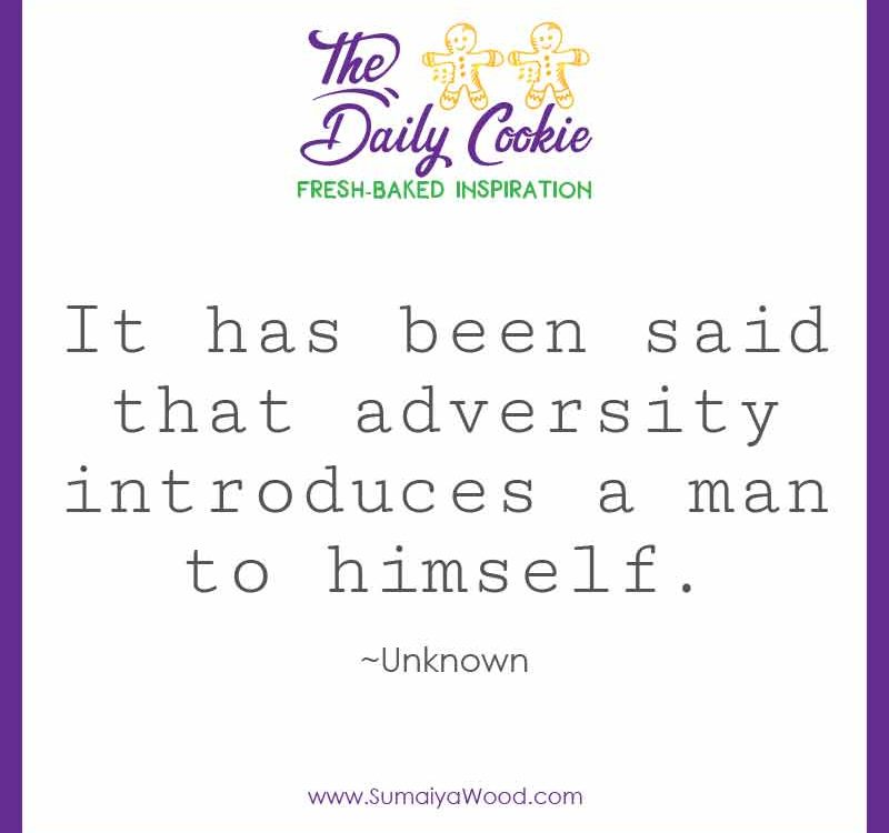 """Inspiring quote: """"It has been said that adversity introduces a man to himself."""""""