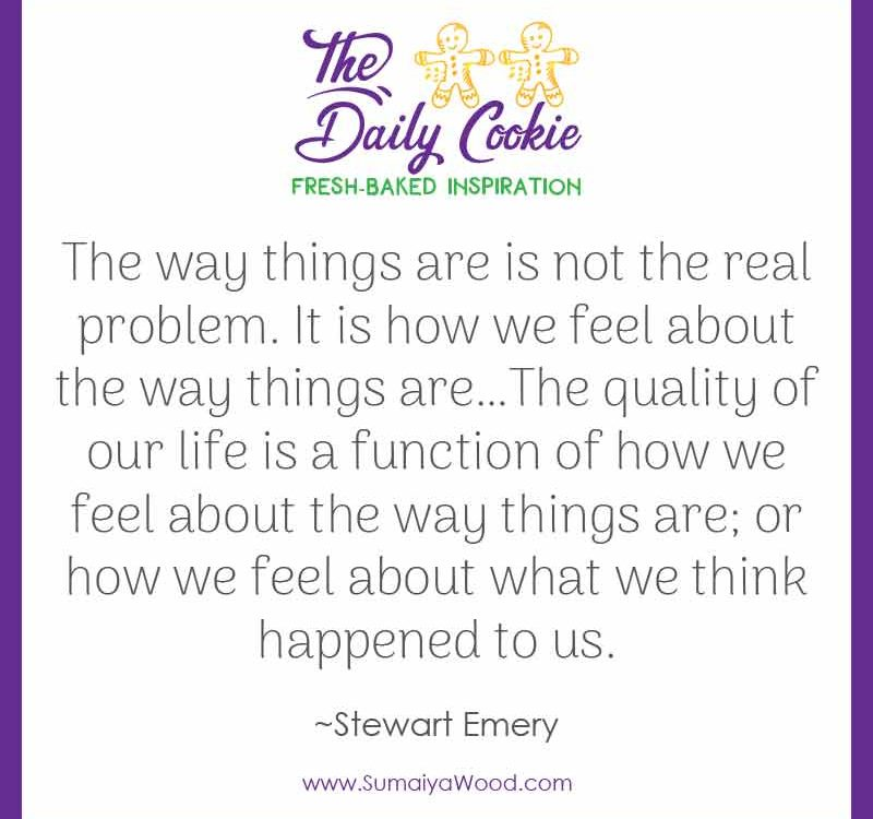 "Inspiring quote from Stewart Emery: ""The way things are is not the real problem. It is how we feel about the way things are…The quality of our life is a function of how we feel about the way things are; or how we feel about what we think happened to us."""
