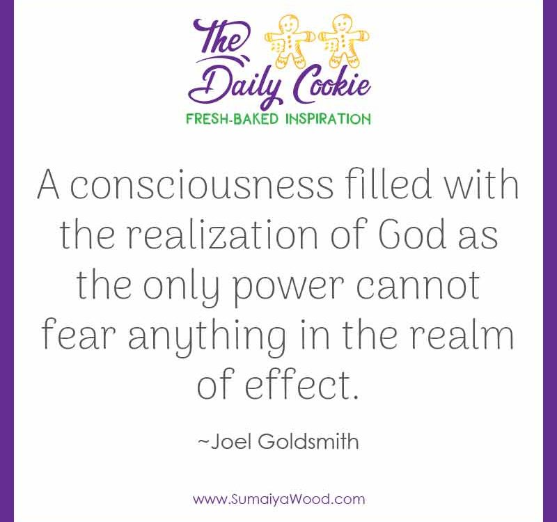 "Inspiring quote from Joel Goldsmith: ""A consciousness filled with the realization of God as the only power cannot fear anything in the realm of effect."""