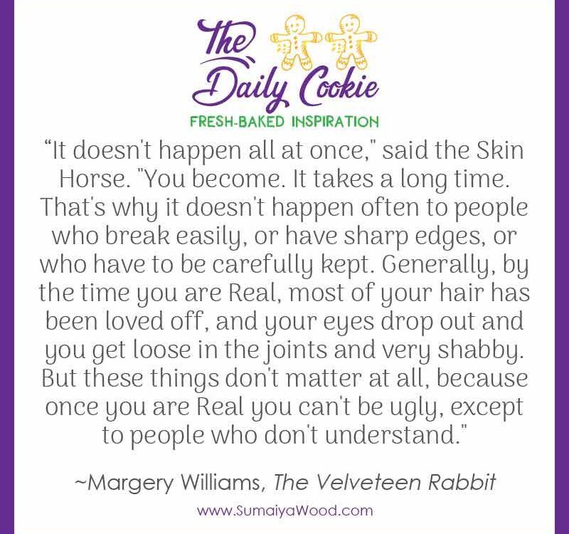 "Inspiring quote from The Velveteen Rabbit: ""It doesn't happen all at once,"" said the Skin Horse. ""You become. It takes a long time. That's why it doesn't happen often to people who break easily, or have sharp edges, or who have to be carefully kept. Generally, by the time you are Real, most of your hair has been loved off, and your eyes drop out and you get loose in the joints and very shabby. But these things don't matter at all, because once you are Real you can't be ugly, except to people who don't understand."""