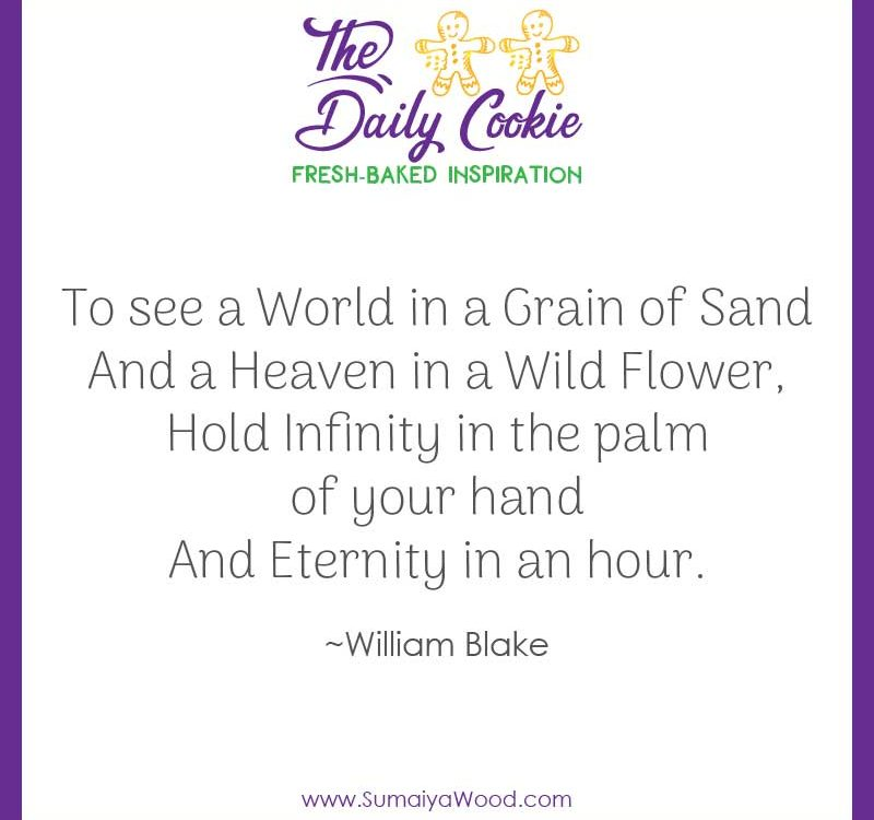 "Inspiring quote from William Blake: ""To see a World in a Grain of Sand And a Heaven in a Wild Flower, Hold Infinity in the palm of your hand And Eternity in an hour."""