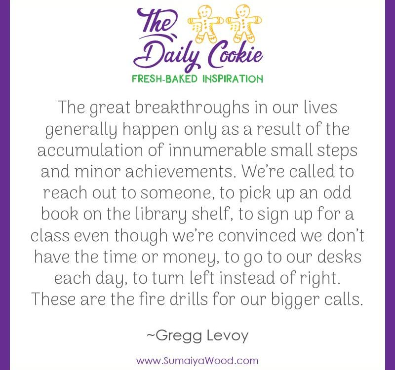 "Inspiring quote from Gregg Levoy: ""The great breakthroughs in our lives generally happen only as a result of the accumulation of innumerable small steps and minor achievements. We're called to reach out to someone, to pick up an odd book on the library shelf, to sign up for a class even though we're convinced we don't have the time or money, to go to our desks each day, to turn left instead of right. These are the fire drills for our bigger calls."""