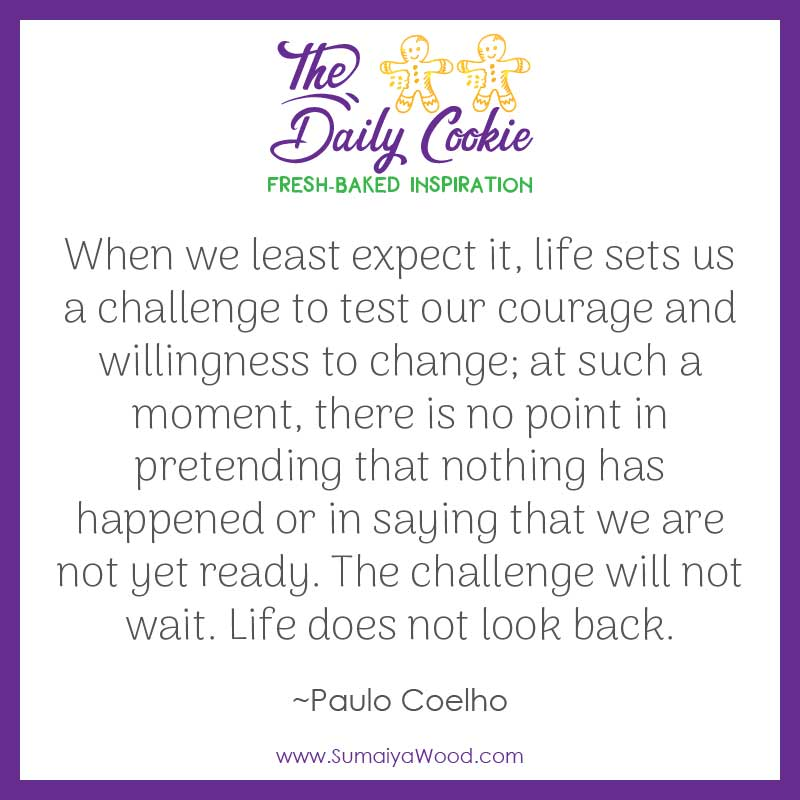 "Inspiring quote from Paulo Coelho: ""When we least expect it, life sets us a challenge to test our courage and willingness to change; at such a moment, there is no point in pretending that nothing has happened or in saying that we are not yet ready. The challenge will not wait. Life does not look back."""