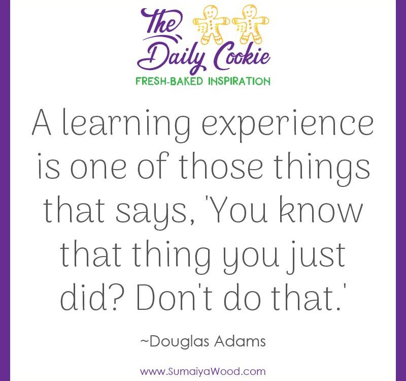 "Inspiring quote from Douglas Adams: ""A learning experience is one of those things that says, 'You know that thing you just did? Don't do that.'"""