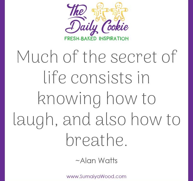 "Inspiring quote from Alan Watts: ""Much of the secret of life consists in knowing how to laugh, and also how to breathe."""