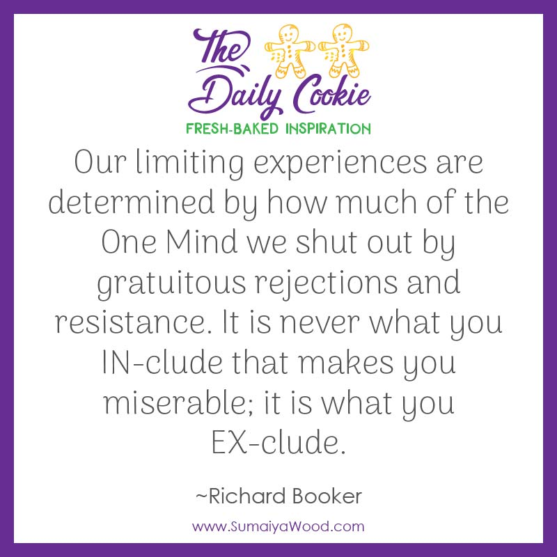 """Inspiring quote from Richard Booker: """"Our limiting experiences are determined by how much of the One Mind we shut out by gratuitous rejections and resistance. It is never what you IN-clude that makes you miserable; it is what you EX-clude."""""""