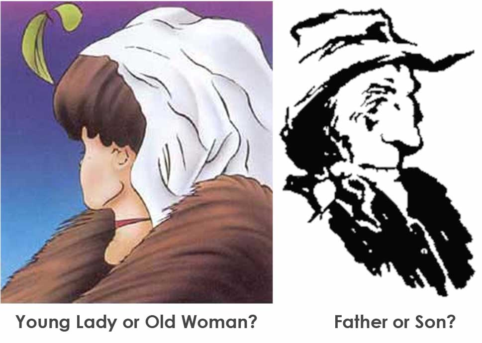 Your perceptions are not reality...What do you see? A young lady or old woman? Father or son?