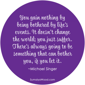 "Inspiring quote: ""You gain nothing by being bothered by life's events. It doesn't change the world; you just suffer. There's always going to be something that can bother you, if you let it."" ~Michael Singer"