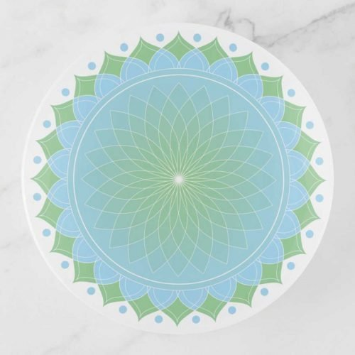 Blue and Green Lotus Mandala Trinket Tray
