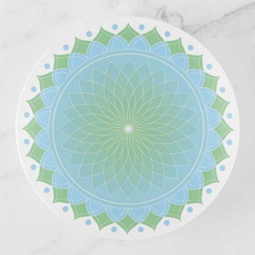 Blue and Green Lotus Mandala Trinket Tray