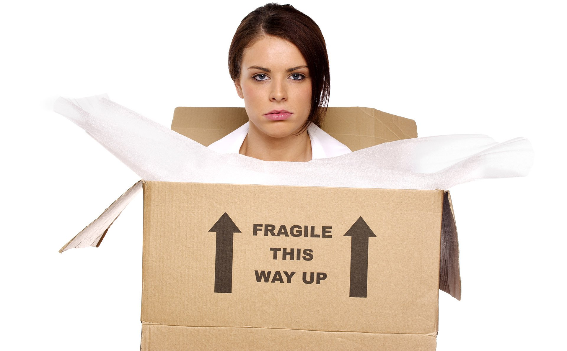 unfulfilled businesswoman stuck in a box