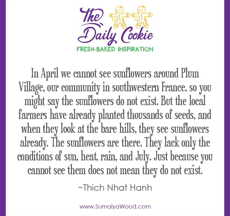 """Inspiring quotee from Thich Nhat Hanh: """"In April we cannot see sunflowers around Plum Village, our community in southwestern France, so you might say the sunflowers do not exist. But the local farmers have already planted thousands of seeds, and when they look at the bare hills, they see sunflowers already. The sunflowers are there. They lack only the conditions of sun, heat, rain, and July. Just because you cannot see them does not mean they do not exist."""""""
